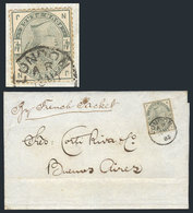 """GREAT BRITAIN: 18/MAY/1885 LONDON - Buenos Aires: Folded Cover (endorsed """"by French Packet"""") Franked By Scott 103 With D - 1840-1901 (Viktoria)"""
