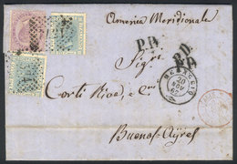 ITALY: 20/NO/1867 MENAGGIO - Argentina: Entire Letter Franked By Sc.32 + 35 X2 (Sa.21 + 26 X2), To Buenos Aires, Excelle - Non Classés
