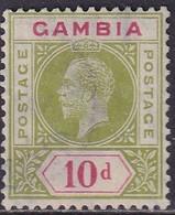 GAMBIA 1921 SG 116 10d Used CV £26 Wmk Mult.Script CA - Gambia (...-1964)
