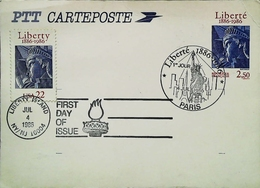 FRANCE USA - FDC  - 1986 - Liberté Paris -  Liberty Island NYC - Carte Maximum - Unabhängigkeit USA