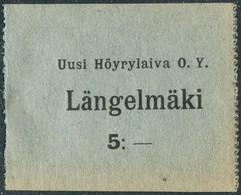 Finland 1920's Ship Mail S/S Längelmäki Steamship Co. 5 Mark Local Post Parcel Freight Schiffspost Paketmarke Colis - Ships