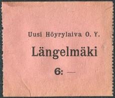 Finland 1920's Ship Mail S/S Längelmäki Steamship Co. 6 Mark Local Post Parcel Freight Schiffspost Paketmarke Colis - Ships
