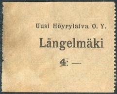 Finland 1920's Ship Mail S/S Längelmäki Steamship Co. 4 Mark Local Post Parcel Freight Schiffspost Paketmarke Colis - Ships