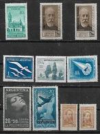 1956-7 Argentina Ameghino- Poliomielitis-plan Quinquenal Avion-defensa De Bs,As,-barcos-petroleo 10v. Mint - Argentina