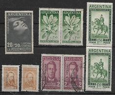 1956-7 Argentina Poliomielitis-yerba Mate-San Martin-Etcheverria-Hernandez 9v. Parejas - Argentina
