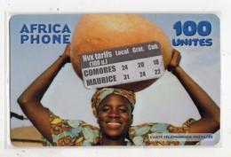 COMORES CARTE Prépayée AFRICA PHONE 100 U  Avec Autocollant Date 2005 - Comore