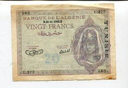 ALGERIA TUNISIA OVERPRINT 20 FRANCS 1943 VF 3.25 - Algeria