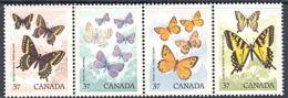 A1207  CANADA 1988,  SG 1296-99  Canadian Butterflies,  MNH - 1952-.... Règne D'Elizabeth II