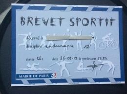 BREVET SPORTIF Discipline Endurance  MAIRIE DE PARIS  Annee 2013 - Athletics