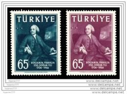 (1534-35) TURKEY THE 250th ANNIVERSARY OF THE BIRTH OF BENJAMIN FRANKLIN MNH** - Nuovi