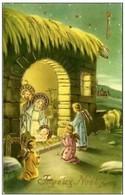 Joeux Noel - Carte Glacée  Avec Dorures - Signée P. Ventura - Crèche  Anges Etoiles - Noël