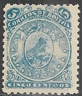 Bolivia    1893  Sc#37   5c  Perf 11   MH  2016 Scott Value $8 - Bolivia
