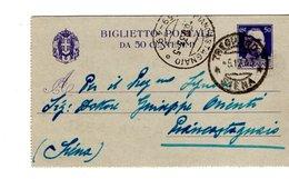 BIGLIETTO POSTALE 1933 DA TREQUANDA PIANCASTAGNAIO CONTENUTO LEGALE - Stamped Stationery
