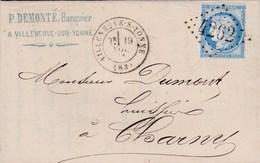LAC De Villeneuve-sur-Yonne (89) Pour Charny (89) - 19/11/1873 - Timbre YT 60 - CAD 17 + Ob. Los. GC 4262 + Ambulant - 1849-1876: Periodo Classico