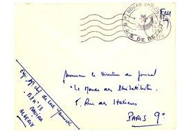 ALGERIE ENV 1957 BOUIRA FRANCHISE SECTION ADMINISTRATIVE SAHARIENNE DE BEZZIT à DOUAR ERRICH LETTRE AVION - Cartas