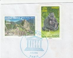 FRANCE 2008 SERVICE UNESCO  YT 140 + 141 - OBLITERE 1ER JOUR SUR FRAGMENT - Oblitérés