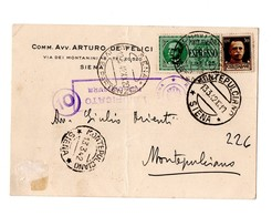 CARTOLINA POSTALE 1942  ESPRESSO DA SIENA - Stamped Stationery