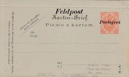 Bosnia Herzegovina KuK 1914/15 Postal Stationery 10 H Red, Closed Card, With Overprint FELDPOST / PORTOFREI, Mint - Bosnia Erzegovina