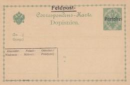 Bosnia Herzegovina KuK 1914/15 Postal Stationery 5h Green With Overprint FELDPOST / PORTOFREI,large Letters,  Mint - Bosnia Erzegovina