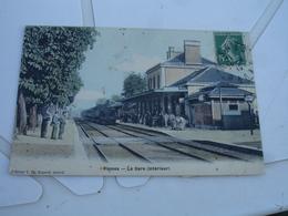 Cpa 51 Fismes Arive Train Vapeur Gare Carte Colorisee - Fismes