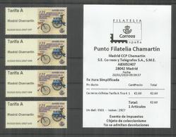 ESPAÑA SPAIN ATM 2020 MADRID CHAMARTIN 4 TARIFA A CON RECIBO CARTERO CICLISTA BICICLETA CYCLING POST - 1931-Hoy: 2ª República - ... Juan Carlos I