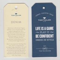 Clothing Label-kledinglabel-etiquette-etikett Tom Tailor Urban-fashion-gear - Historische Bekleidung & Wäsche
