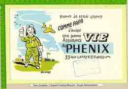 BUVARD :Une Bonne Assurance PHEBIX  Avion Aerodrome Enfant - Banco & Caja De Ahorros