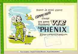 BUVARD :Une Bonne Assurance PHEBIX  Avion Aerodrome Enfant - Bank & Insurance