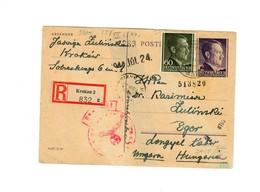 Ganzsache GG P 13: 17.7.44 Einschreiben Krakau Nach Eger/Ungarn, Zensur - Besetzungen 1938-45