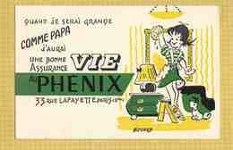 BUVARD : Une Bonne Assurance VIE PHENIX Nettoyage . Petit Chien . Couleur Verte - Banco & Caja De Ahorros