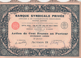 Occasion: Banque Syndicale Privée, Impr. Richard - Banque & Assurance