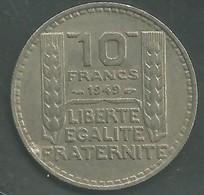 10 Francs 1949 - Turin Petite Tête Rameaux Courts - France