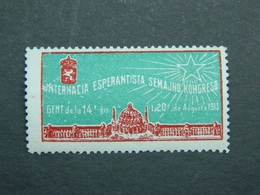 Esperanto Cinderella Vignette Semajno-kongreso, Congress Congrès Gento Gent Gand (Belgujo Belgique Belgium Belgie) 1913 - Esperanto
