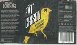 étiquette Décollée Bière Fat Grisou Brasserie Du Borinage - Bière