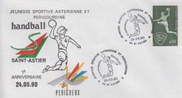Enveloppe  FRANCE    Handball    1er  Anniversaire    Equipe  Locale   SAINT  ASTIER   1990 - Pallamano