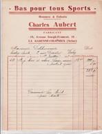 92-C.Aubert..Bas Pour Tous Les Sports....La Garenne-Colombes...(Hauts-de-Seine)...1933 - Textile & Vestimentaire