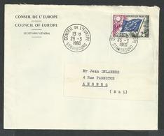 Conseil De L'europe , Strasbourg N°19 Sur Lettre Oblitéré Conseil De L'europe Strasbourg Du 25 3 1960 - Storia Postale