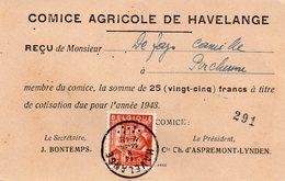 N° 762 Exportations Sur Reçu Comice Agricole De HAVELANGE - 1948 Export
