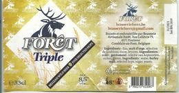 étiquette Décollée Bière Forêt Triple Brasserie De La Forêt Poulseur - Bière