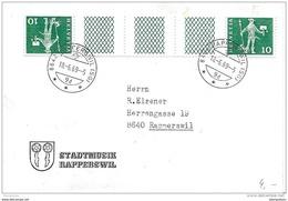 115 - 26 - Enveloppe  Tête-bêche Avec Pont - Cachet Rapperswil 1969 - Tête-Bêche