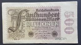 RS - Germany 500 Millionen Mark Banknote 1923 6th Issue #202748 P.110d Wmk G/D In Stars - [ 3] 1918-1933: Weimarrepubliek