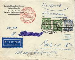 1934- DANZIG - LUFTPOST -  Fr. à 55 Pf  To  France - 1919-1939 République