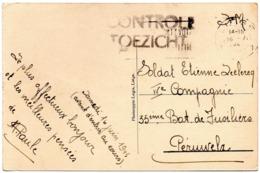Griffe CONTROLE/TOEZICHT Sur CV En Franchise De Liège Vers Un Militaire à Péruwelz - WW II