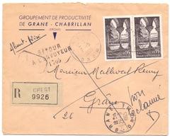 France Lettre Recommandée Avec AR De Crest Drome Pour Grane Retour A L Envoyeur 1705 Moissac - 1961-....