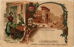 CPA PARIS (10e) Porte St-Denis. Publicite TREBUCIEN Marchande (563847) - Arrondissement: 10