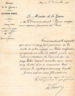 """-Sapeurs-Pompiers De PARIS--""""Le Ministre De La GUERRE Félicite Le Commandant  PIERRE Aux Sap-Pompiers De Paris En 1881""""- - Documents Historiques"""