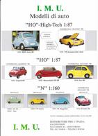 Modélisme Fiche PUB Publicité I.M.U Modèles Réduits H.O 1:87 Autos VW Karmann Ghia Cabriolet Porsche 356 BMW Isetta 300 - Echelle 1:87