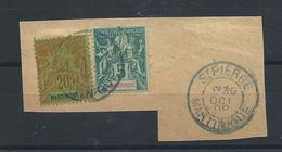 Martinique N°37 Et 34 Obl (FU) 1892 - Sur Fragment - Oblitérés