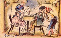 Petite Carte Postale Ancienne - Germaine BOURET - MD - Bonne Année - Bouret, Germaine