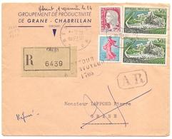 France Lettre Recommandée Avec AR De Crest Drome Pour Grane  Retour A L Envoyeur 1705 Marianne Decaris Semeuse Cognac - 1961-....